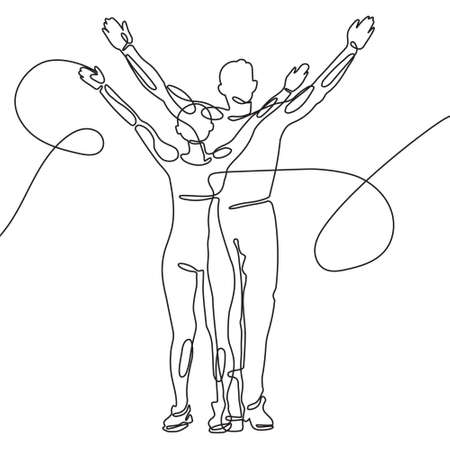 one line drawing. man and woman stand together greeting with their hands up. Sports victory. The concept of luck success. editable vector drawing