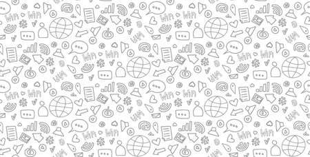 Social media sketch vector seamless doodle pattern  gray icons on a white background