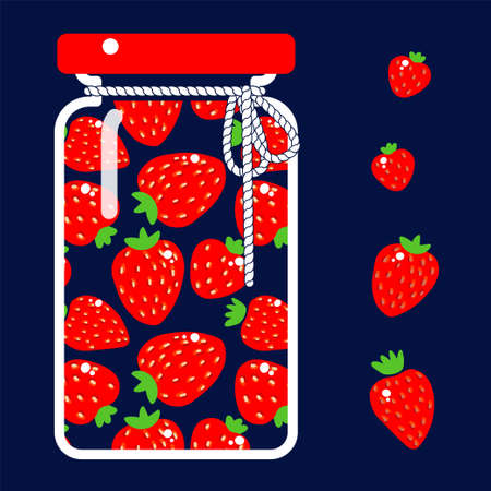 glass jar of canned strawberry on a dark background. Vector illustration