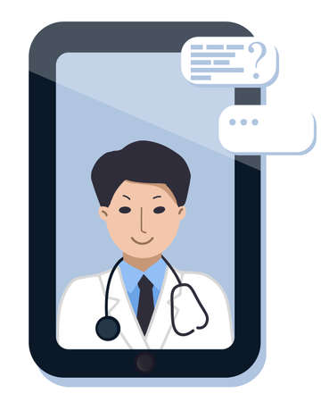 Smartphone or tablet screen with doctor. on chat in messenger