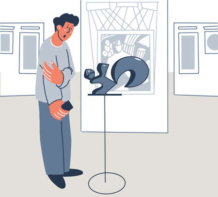 Visitor to the museums examines the exhibit. Exposition interior, paintings. Vector illustration flat design