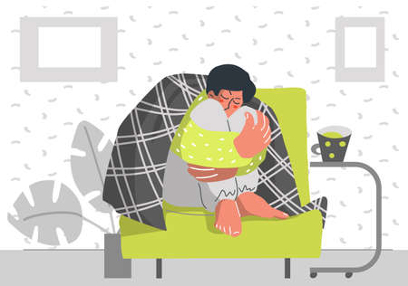 Sed person wrapped in a blanket, with a cup of of beverage Stay at home. quarantine concept. Flu influenza symptoms. Flat design style vector illustration.