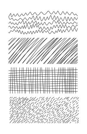 Hand drawn textures. Artistic collection of doodle design elements
