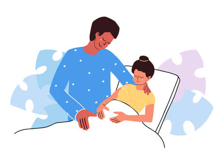 Pregnant woman in clinic. Birth partner. Happy fashion family couple hugs. Emotional support. Flat design vector illustration