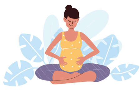 Yoga for pregnant in lotus position