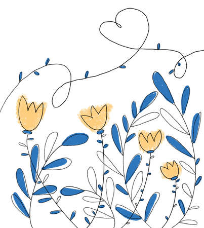 stylization of flowers. Greeting card in minimalist style. Illustration is drawn in a line with blue and yellow spots. Sardine shape. Empty place