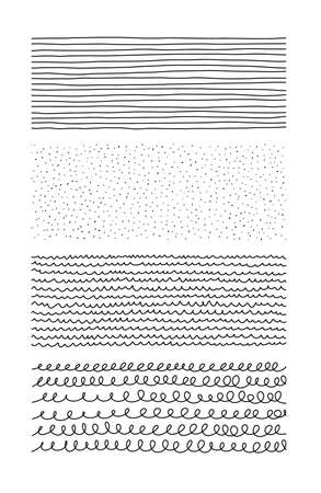 Hand drawn textures. Artistic collection of doodle design elements: loop, points, abstract backgrounds, stippling patterns cage and hatching made with ink. Vector illustration Ilustração