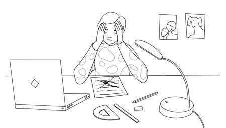 Boy at home in stress doing hard homework or prepare for exam Not knowing answers. schoolboy sitting at desk holding head. Vector illustration line style  Vettoriali