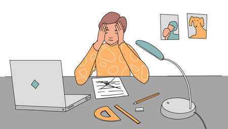 Boy at home in stress doing hard homework or prepare for exam upset about mistakes. schoolboy sitting at desk holding head. Vector illustration flat design