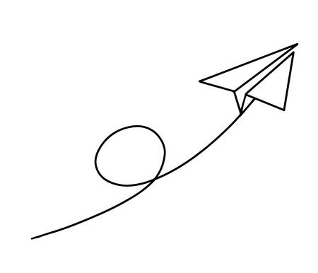 Flight of a paper plane with one continuous line