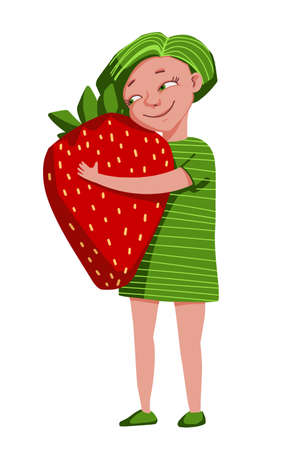 The girl hugs a large strawberry. Children love sweet berries. Character in cartoon style illustration on white background