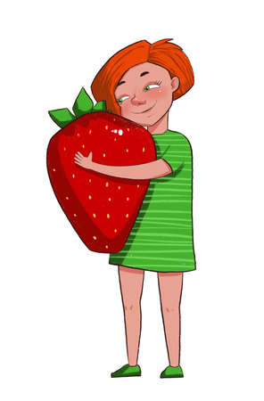 The girl hugs a large strawberry. Children love sweet berries. Character in cartoon style illustration Banco de Imagens