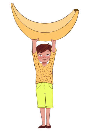 Smiling boy holds a banana. Children love fruit. Cute character in cartoon style illustration on white background.