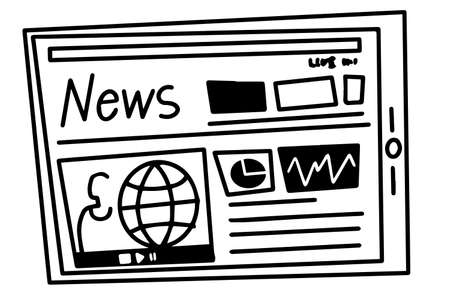 News on tablet screen black and white vector illustration line style black and white vector illustration line style
