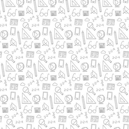 back to school vector seamless doodle pattern
