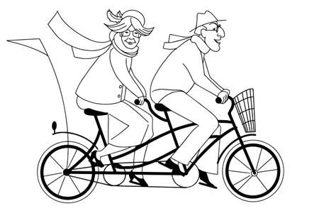 Active old couple riding a tandem bike doodle style