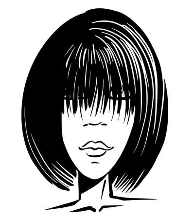 black silhouette of a girl with long bangs