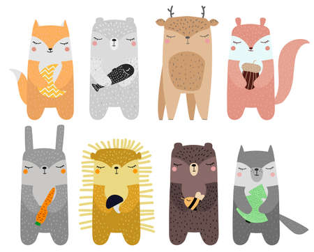 Set Cute wild animals Fox, bear, deer, hedgehog, squirrel, hare, wolf, polar bear Scandinavian style for kids hand drawn Doodle Vector cartoon illustration on white background