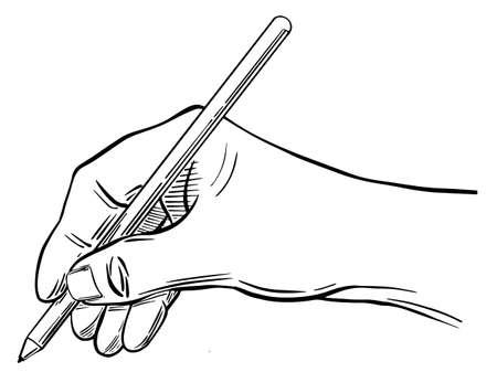 Sketch hand holding ball pen Ilustração