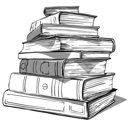 Sketch Hand Drawn stack of books Stock fotó - 155730411