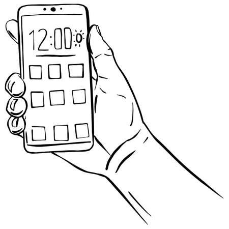 Hand holding smartphone black line sketch illustration