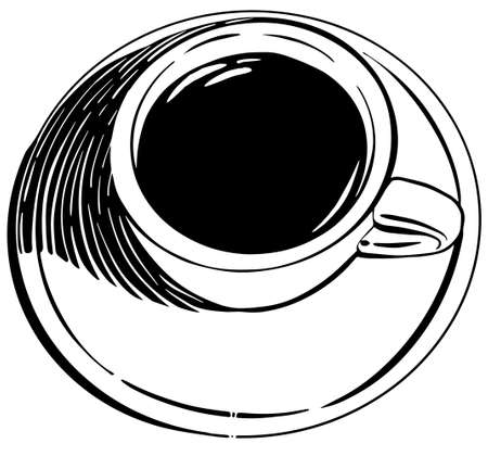 Top view Coffee or tea Cup hand drawn sketch Illusztráció