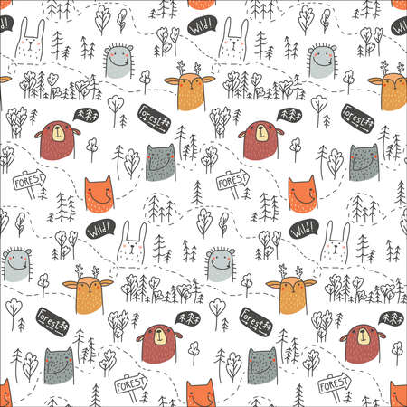 Cute Forest animals seamless pattern. Bear, deer, hedgehog, hare, fox and wolf. Scandinavian cartoon baby background