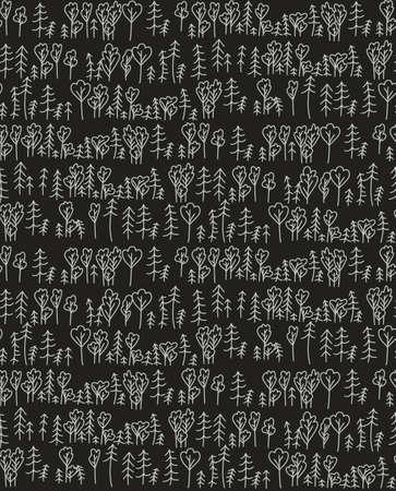 Wild forest in Scandinavian style seamless pattern grey on black Illusztráció