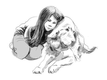 Cute little girl hugging her friend big dog Tibetan mastiff sketch