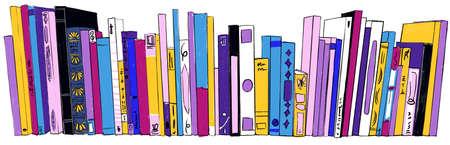 Stack of Books on bookshelves colorful illustration