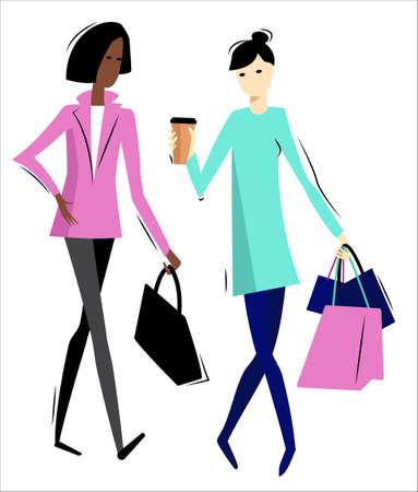 Happy young women with shopping bags walking