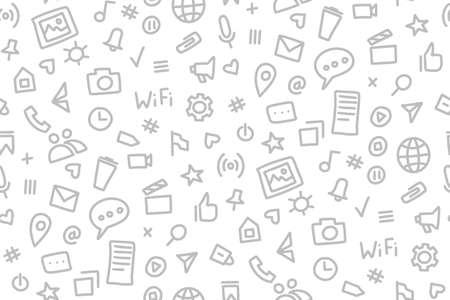 Social media seamless pattern doodle style. Vector illustration wits hand drawn icons Illusztráció
