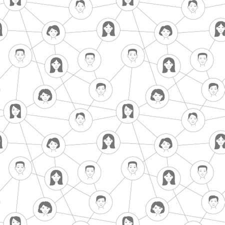 Social network scheme Seamless pattern. Vector illustration doodle stile Illusztráció