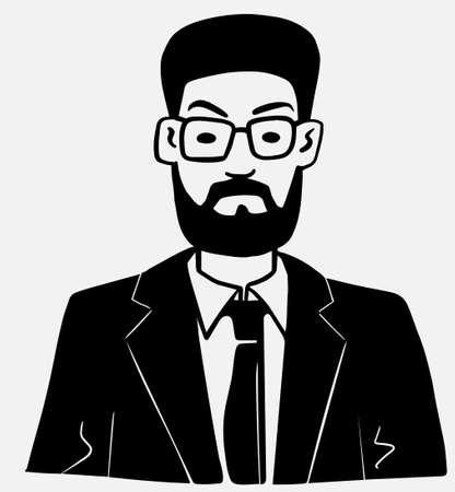 Teacher Professor portrait of man with beard wearing glasses and jacket Illusztráció
