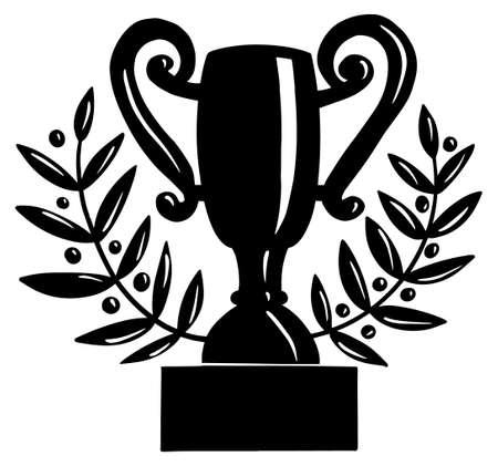 Trophy Champions Cup award Laurel wreath Doodle style Illusztráció