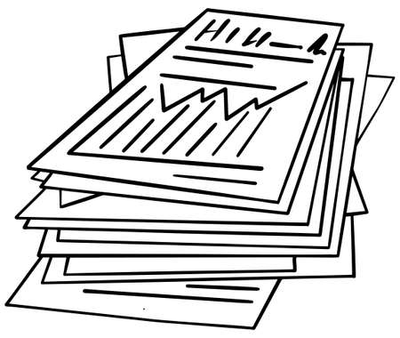 Paper stack black and white, hand drawn Illusztráció