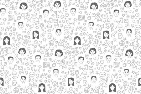 Social network people and icons seamless pattern background Illusztráció