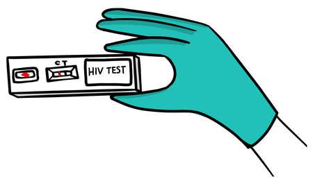 Express test for HIV hand drawing Illusztráció