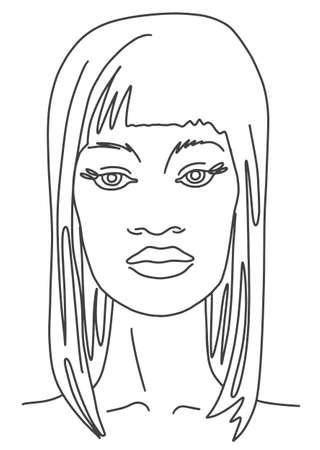 Line drawing face aesthetic contour. Abstract woman portrait Ilustración de vector