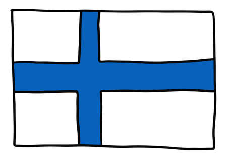 Finland Doodle flag hand drawn