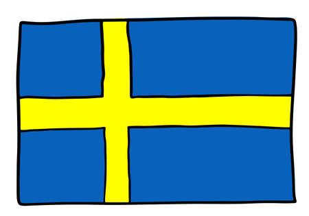 Sweden Doodle flag hand drawn