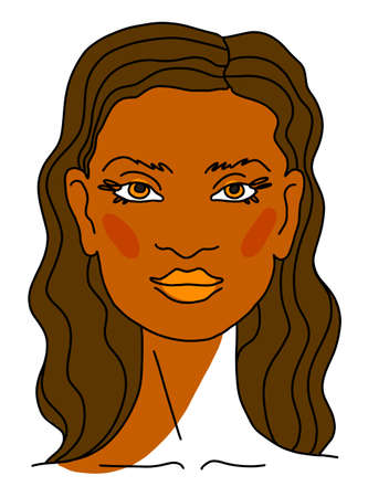 Beautiful Lovely feminine face Portrait Brunette woman with long brown Curly Hair. Line drawing