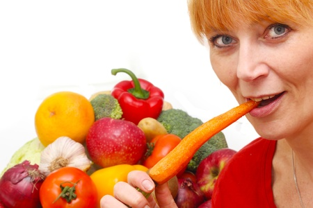 fresh vegetables isolated and woman on white background photo