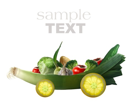 fresh vegetables on the car and white background  Stock Photo - 13179456