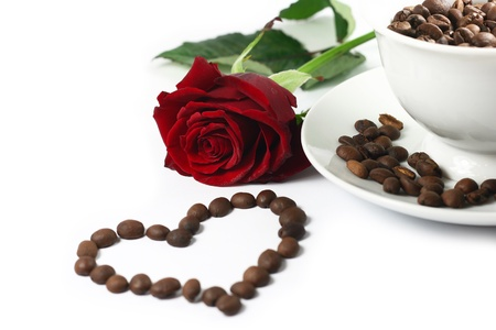 capuccino: red rose nad coffe