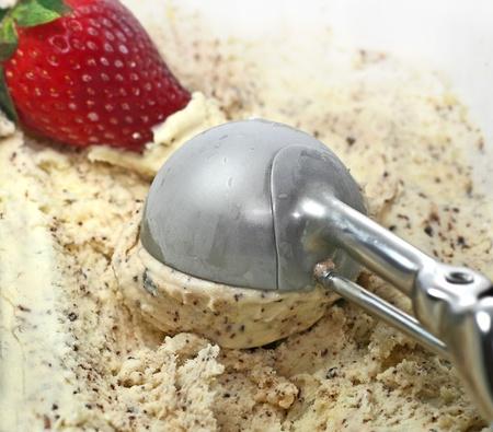 Ice Cream scoop with chocolate photo