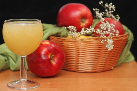 fresh apple juice in glass  photo