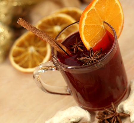 Winter drink with oranges and cloves  photo