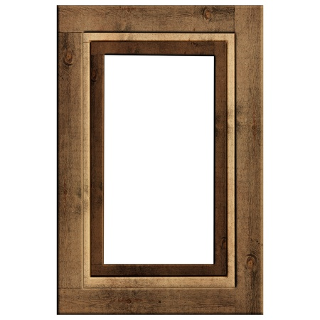 wooden frame: Vintage green picture frame isolated on white  Stock Photo