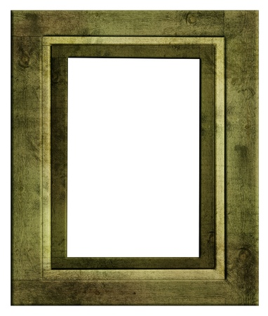 ornamentation: Vintage green picture frame isolated on white  Stock Photo